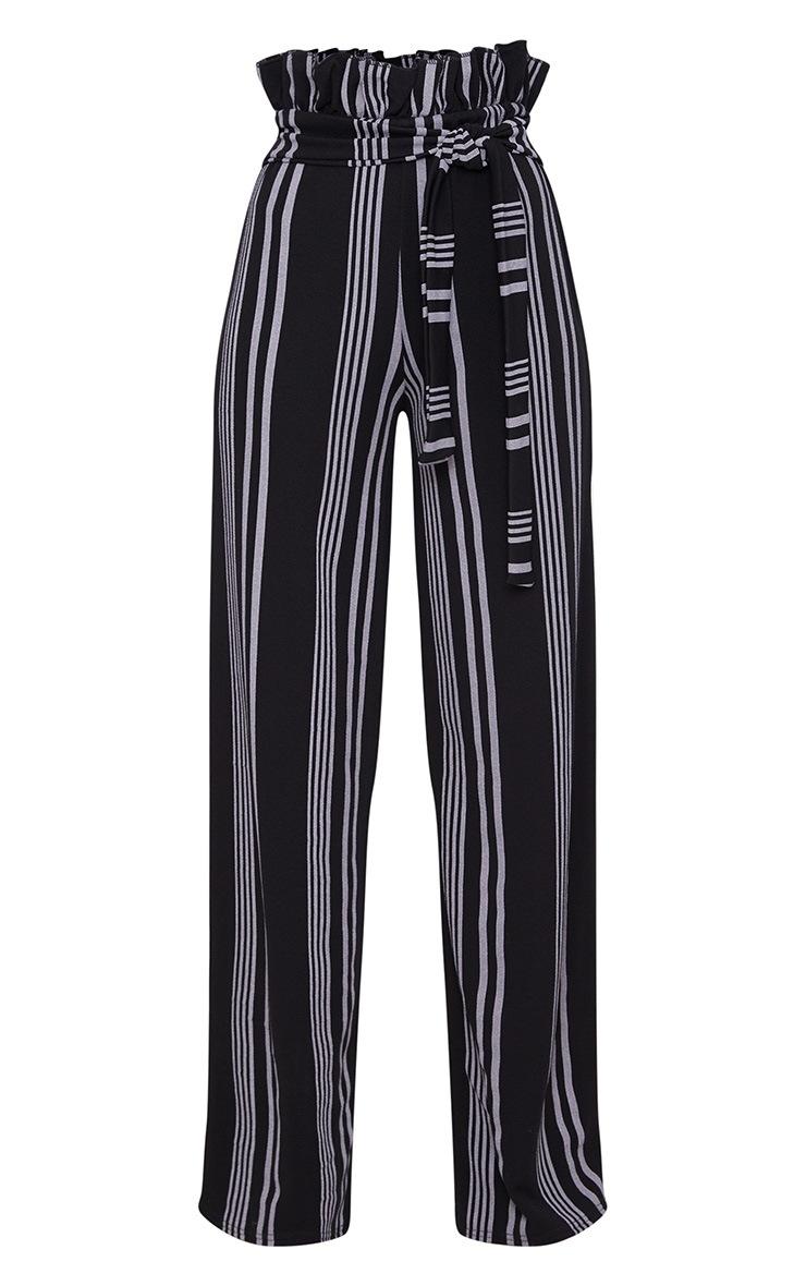Black Stripe Crepe Paperbag Wide Leg Pants 3