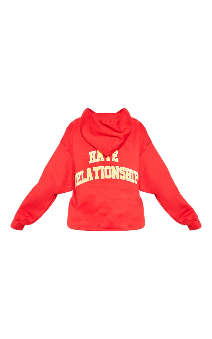Red Love Hate Slogan Oversized Hoodie 4