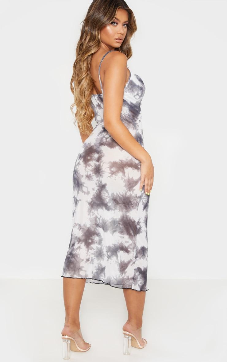 Grey Tie Dye Mesh Cowl Neck Midi Dress 2