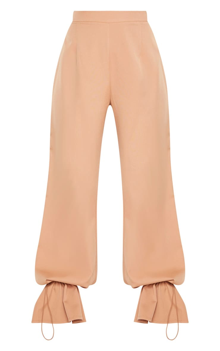 Camel Woven Cuffed Straight Leg Pants 3
