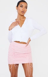 Pink Gingham Ruched Mini Skirt 4