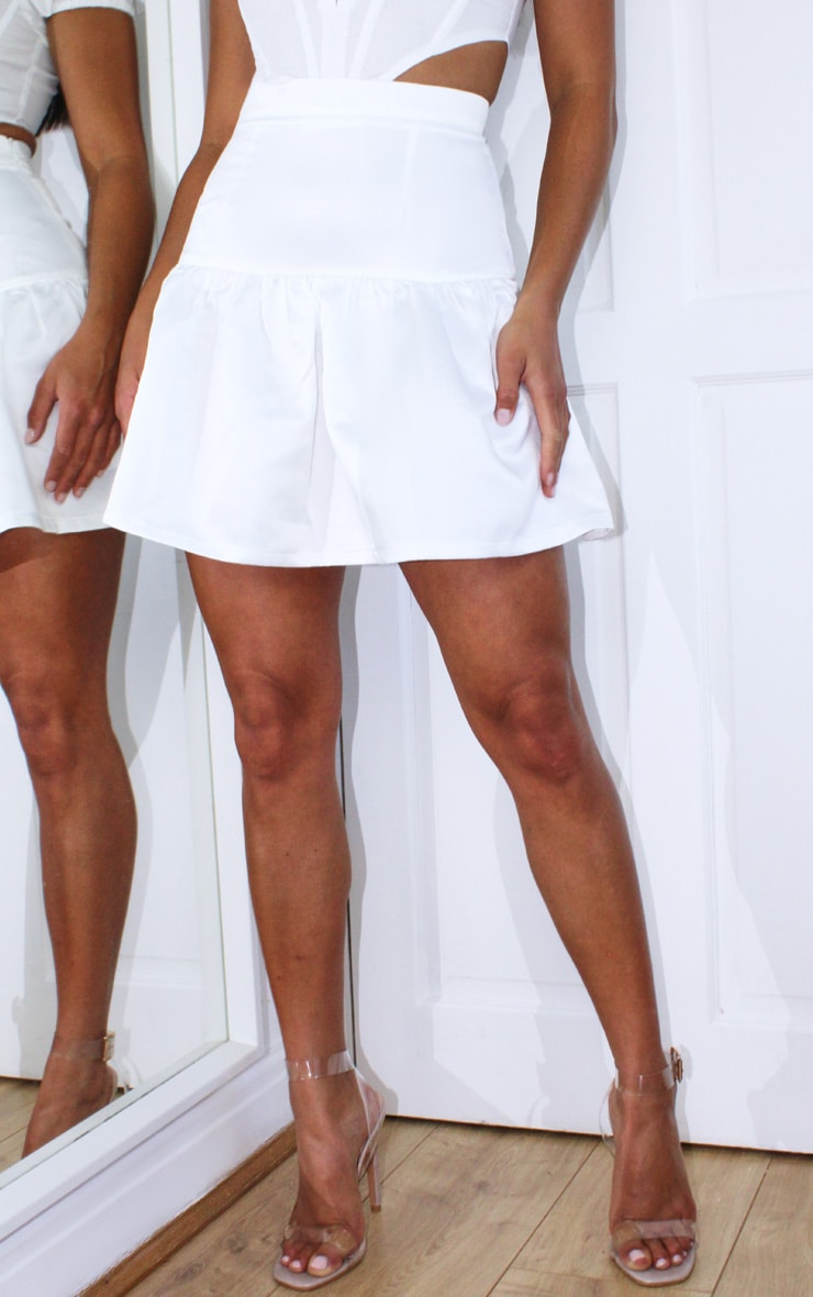Petite Cream Satin Flippy Hem Mini Skirt 2
