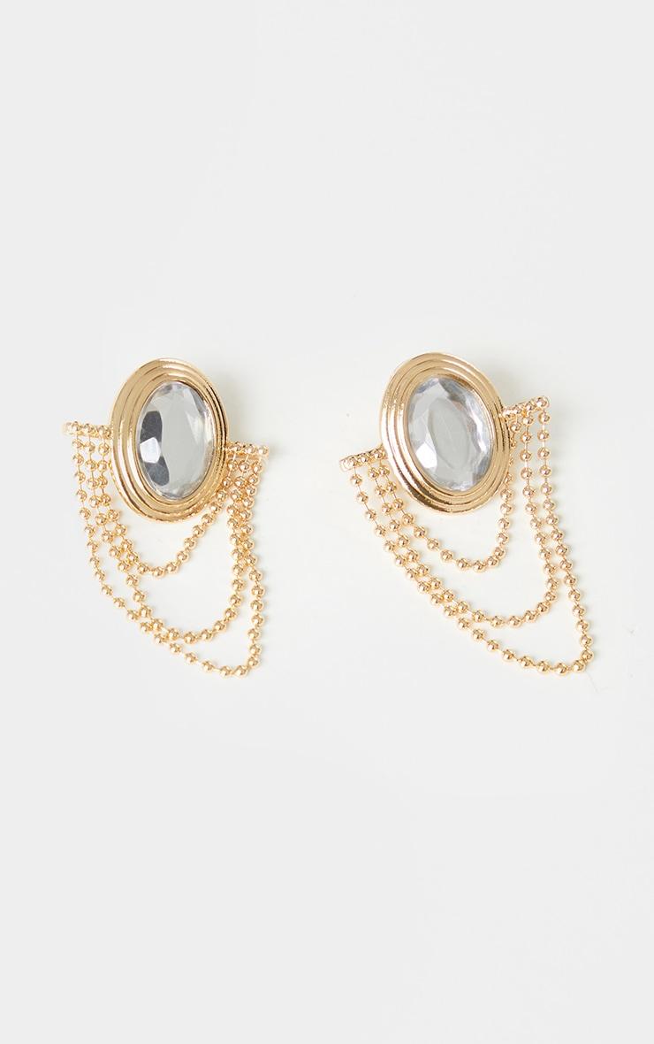 Silver Diamante Gold Chain Drop Statement Earrings 2