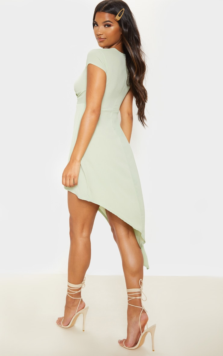 Sage Khaki Twist Front Asymmetric Hem Midi Dress 2