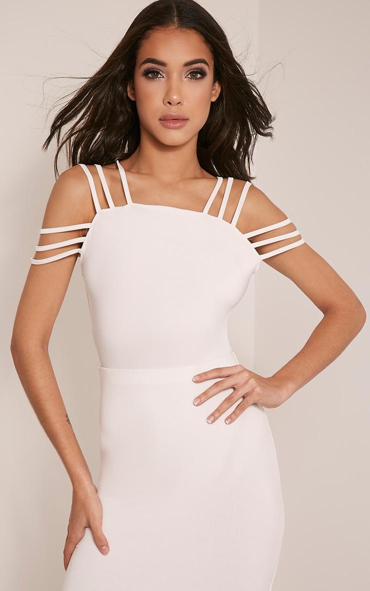 Marnie Cream Strap Detail Slinky Bodysuit 1