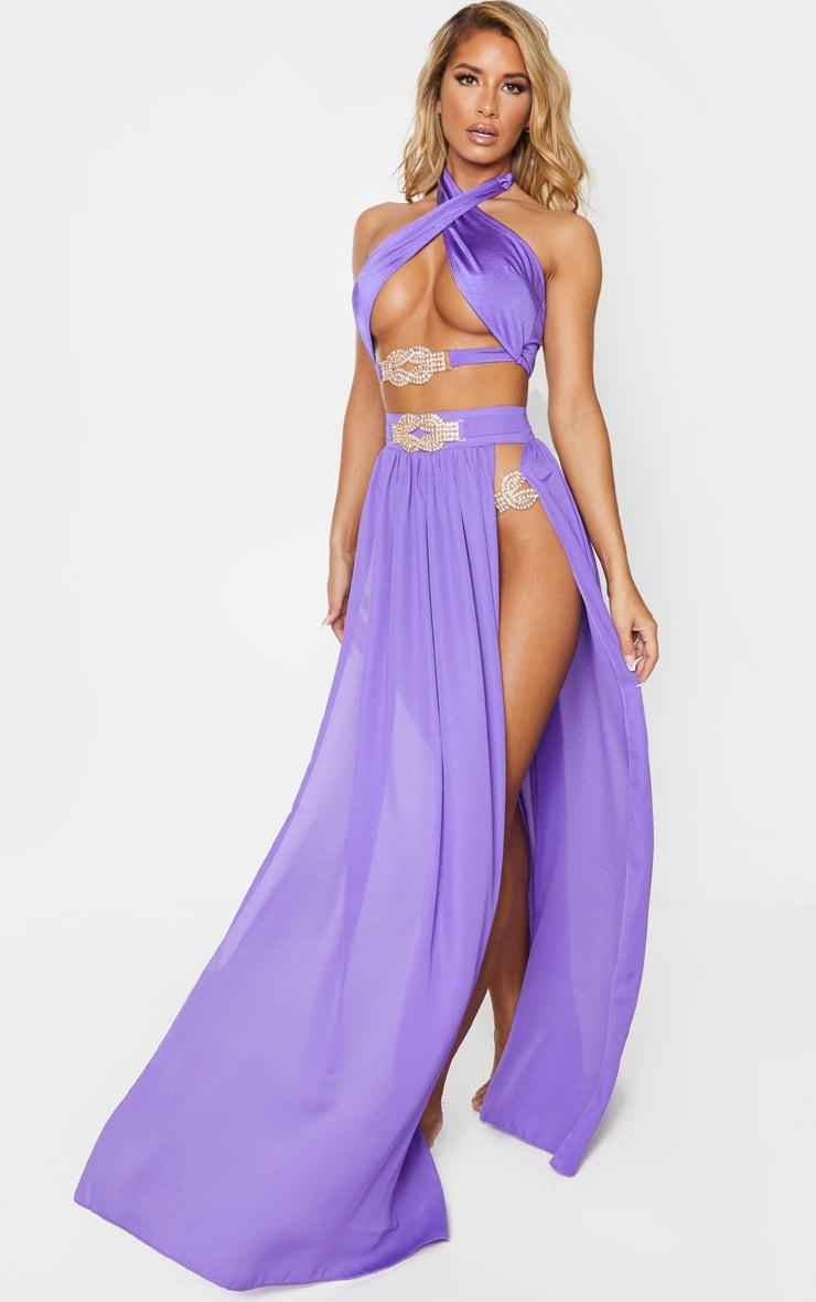 Purple Chiffon Diamante Jewel Beach Skirt