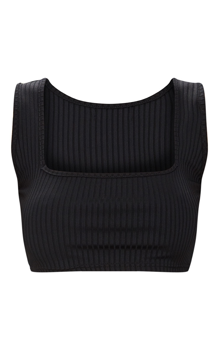 Basic Black Rib Square Neck Crop Top 3