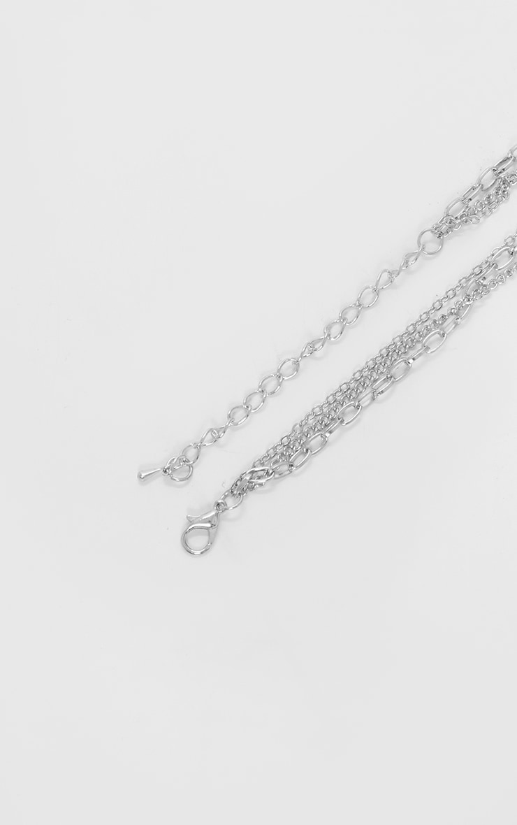 Silver Triple Chain Pendant Layering Necklace 4