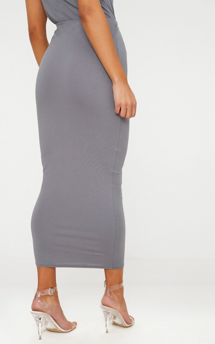 Charcoal Grey Cotton Stretch Midaxi Skirt  4