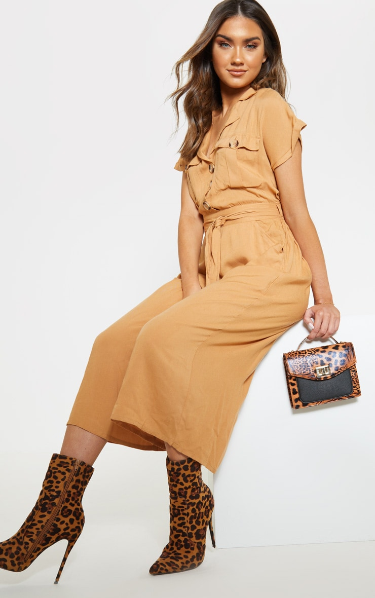 Camel Tortoise Shell Button Pocket Detail Culotte Jumpsuit 4
