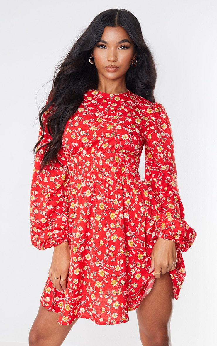 Red Floral Print Shirred Waist Backless Shift Dress 1