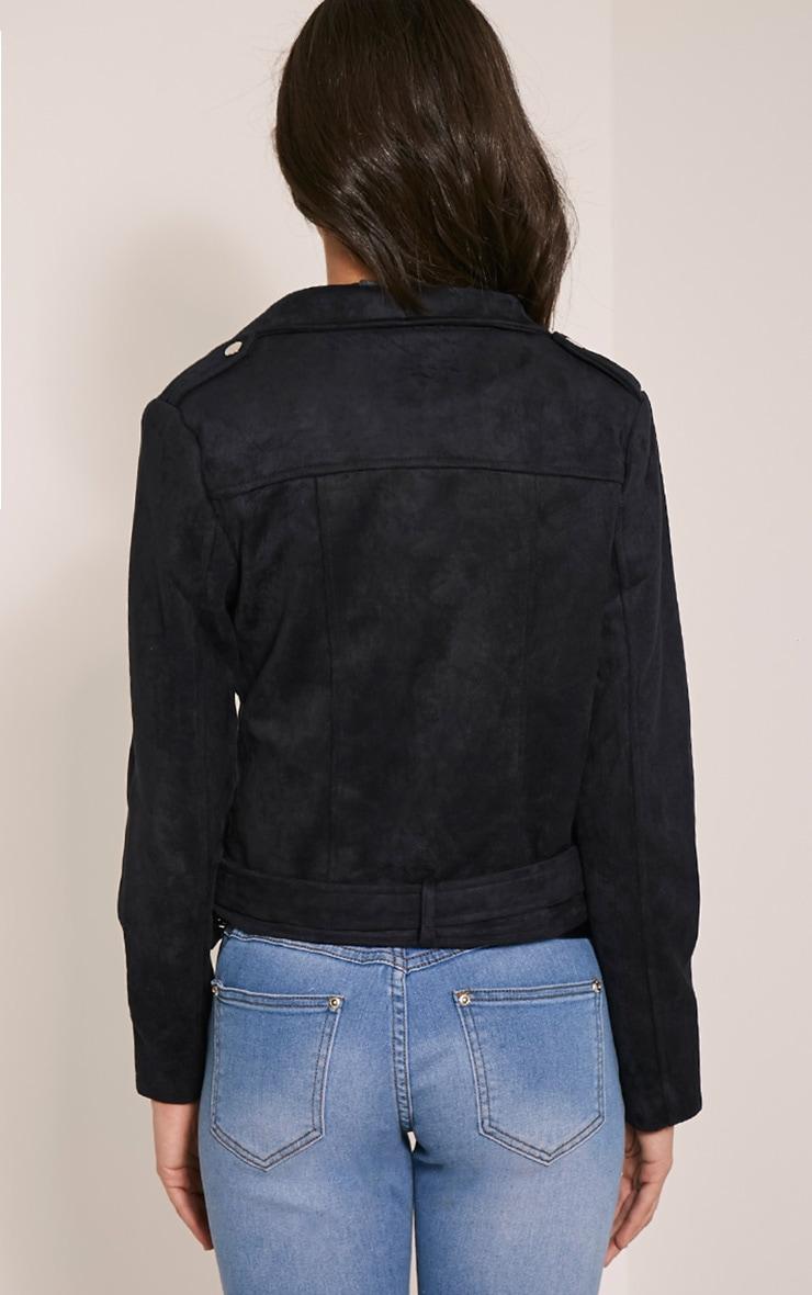 Sabella Black Faux Suede Biker Jacket 2