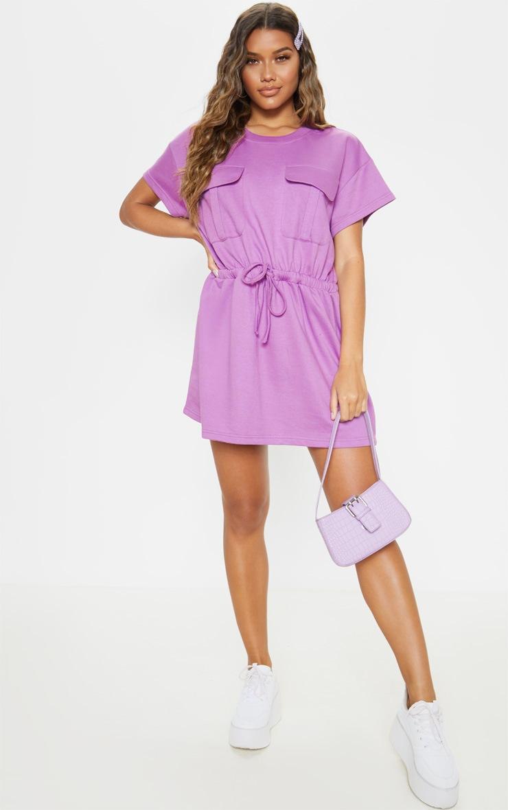 Robe pull lilas à poches et lien à la taille 4