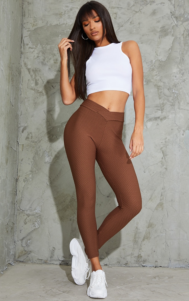 Chocolate V Waist Textured Leggings 1