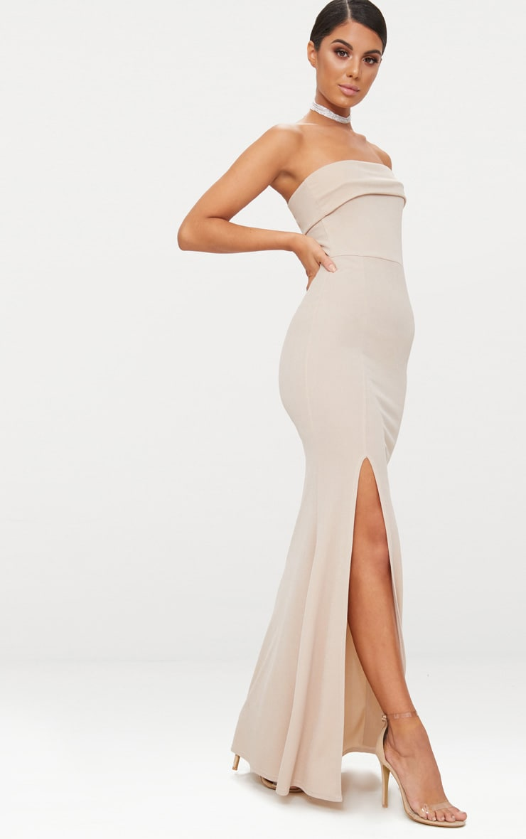 Nude One Shoulder Bardot Split Detail Maxi Dress 4
