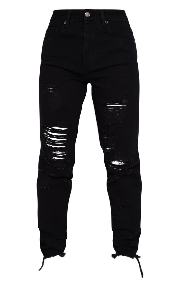 Petite Black Distressed Raw Hem Jeans 5