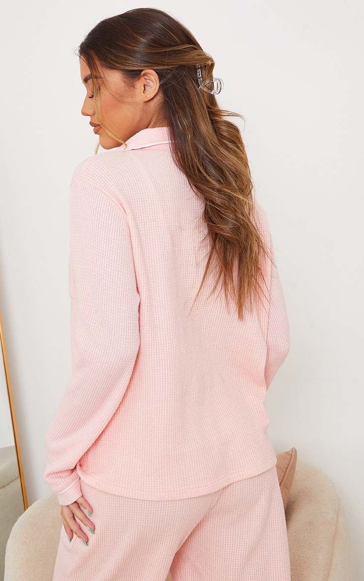 Pink Mix And Match Soft Waffle Button Down Long Sleeve PJ Top 2