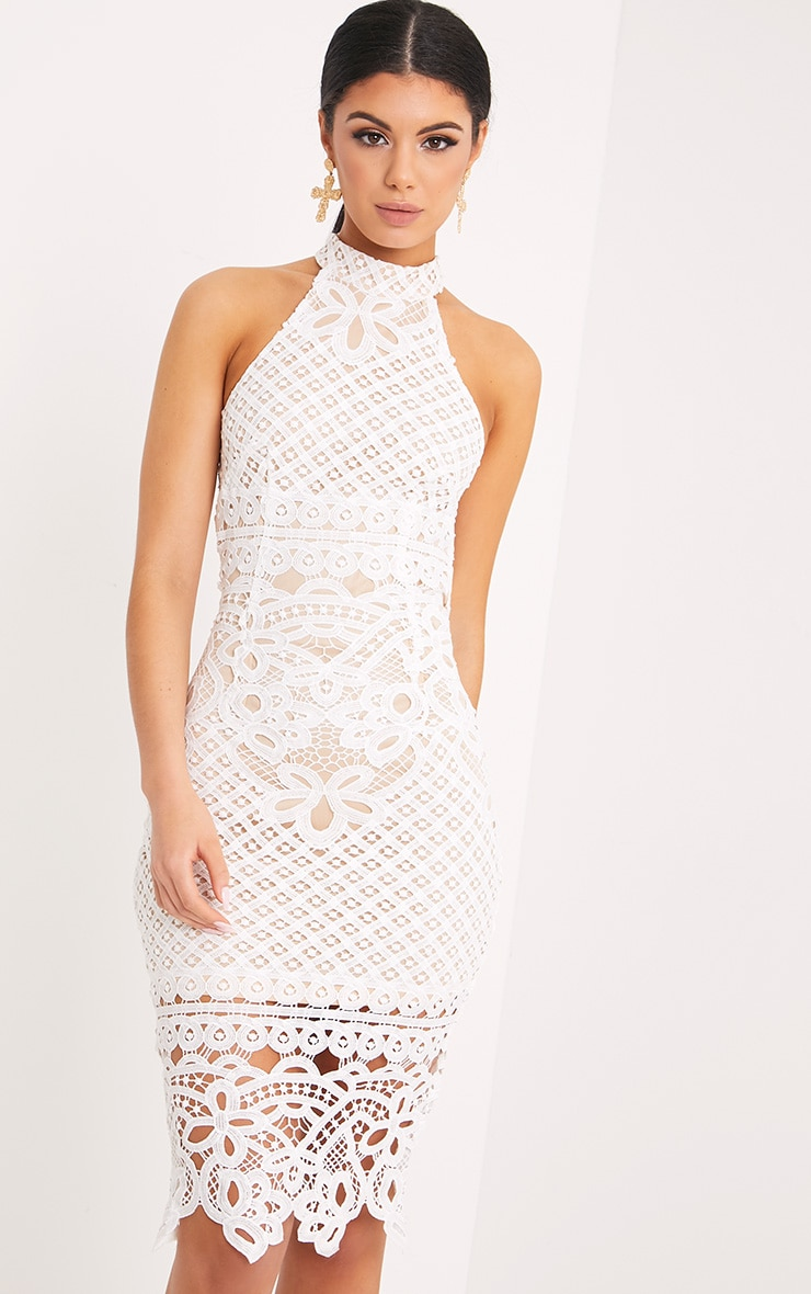 Hanny White Crochet Midi Dress 1