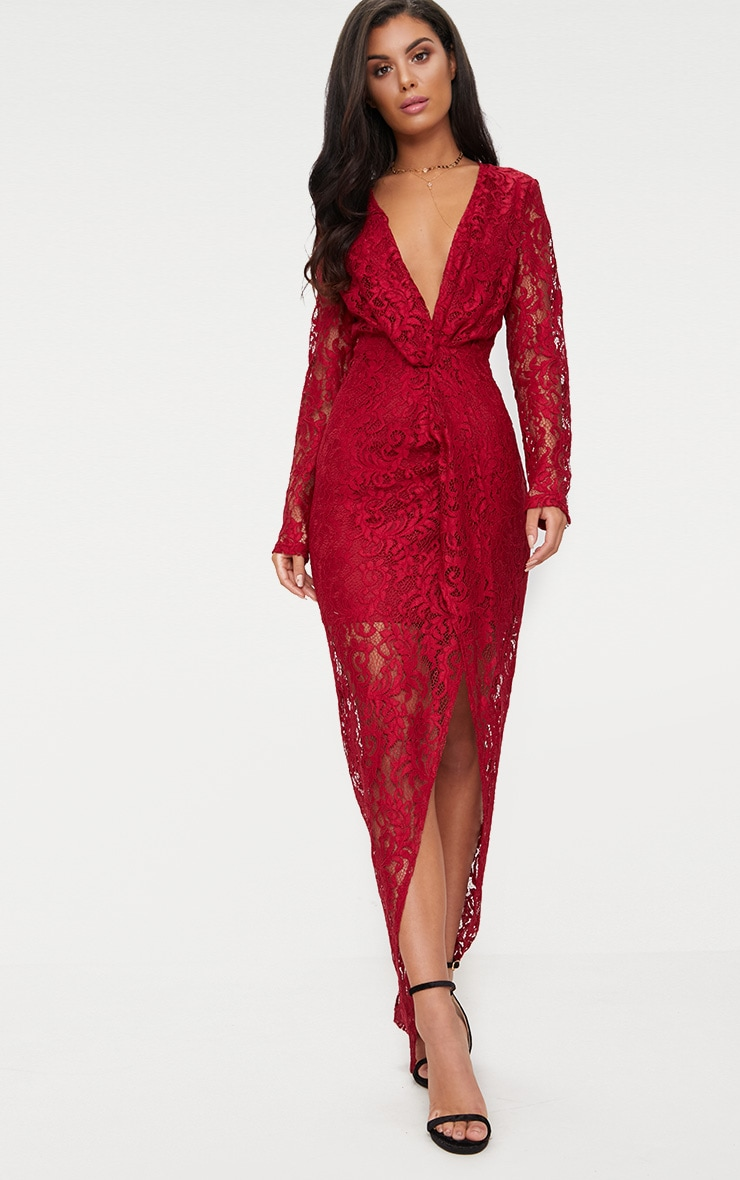 95d300a4b5d Burgundy Lace Long Sleeve Wrap Detail Plunge Maxi Dress image 1