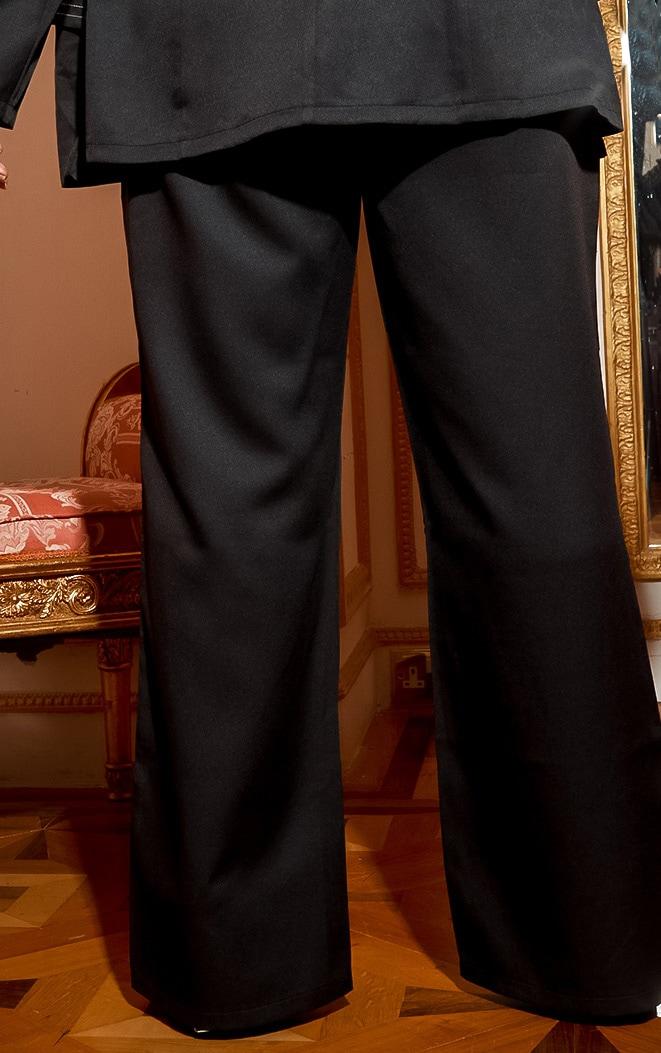 Plus Black Seam Detail Wide Leg Pants 4