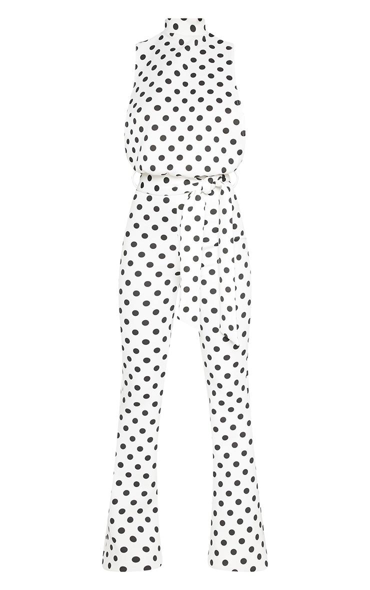 Petite White Polka Dot Scuba High Neck Tie Waist Jumpsuit 3