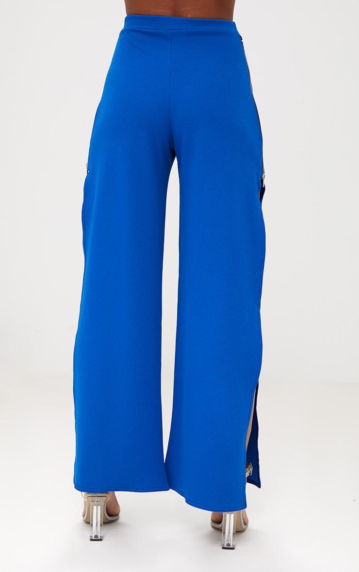 Cobalt Zip Split Wide Leg Track Pants 4