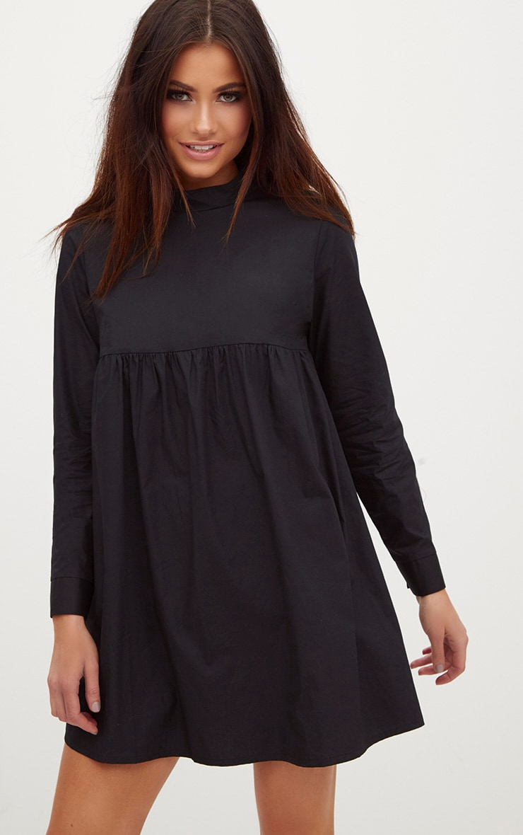 Black Cotton Poplin High Neck Smock Dress 1