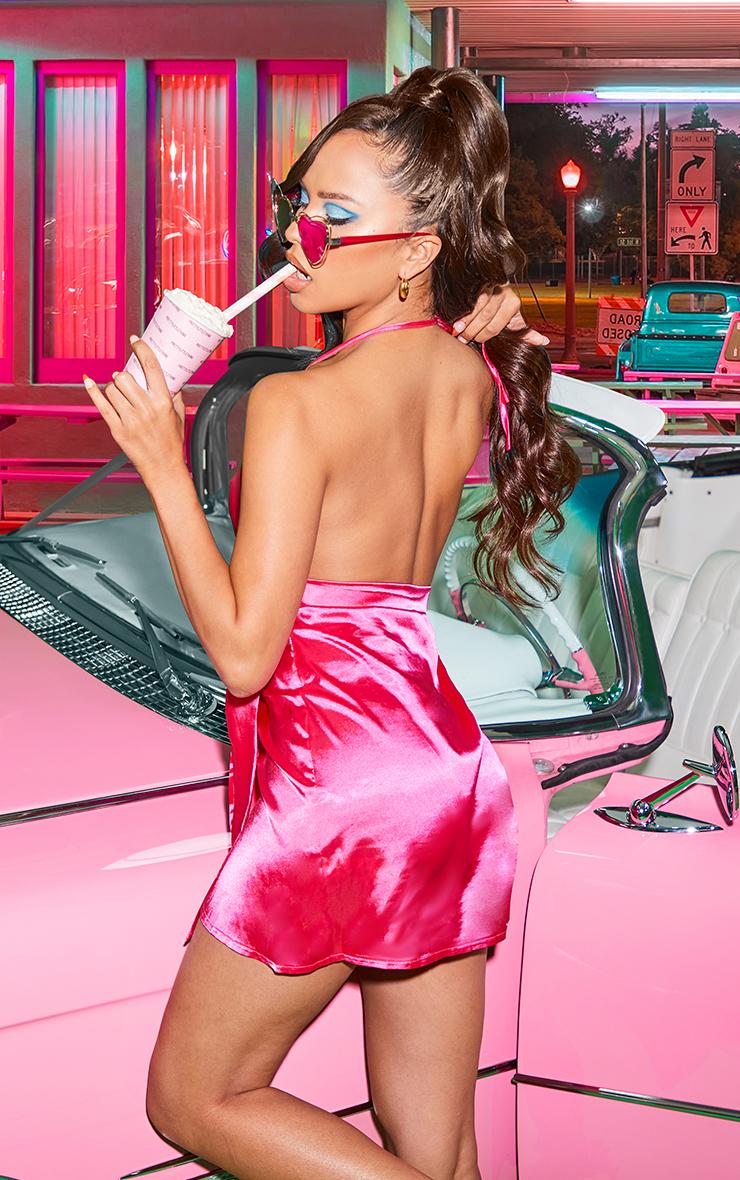 Hot Pink Satin Halterneck Wrap Bodycon Dress 2