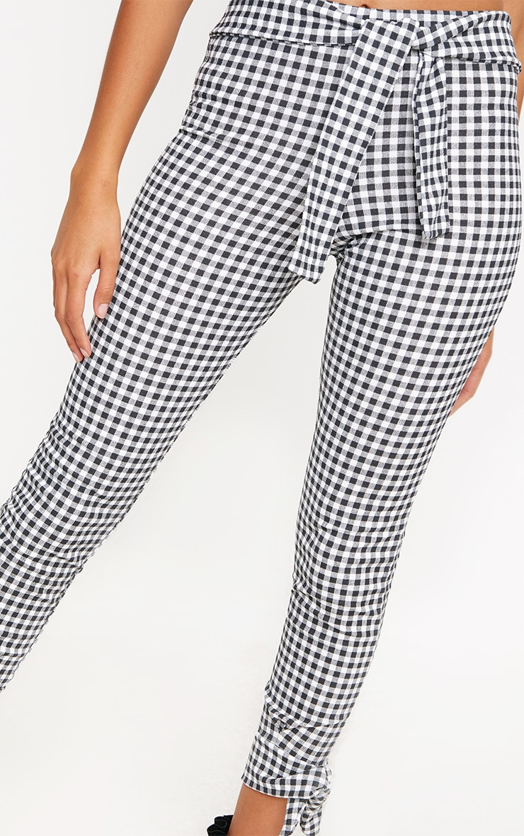 Black Gingham Tie Detail Fitted Trousers 5