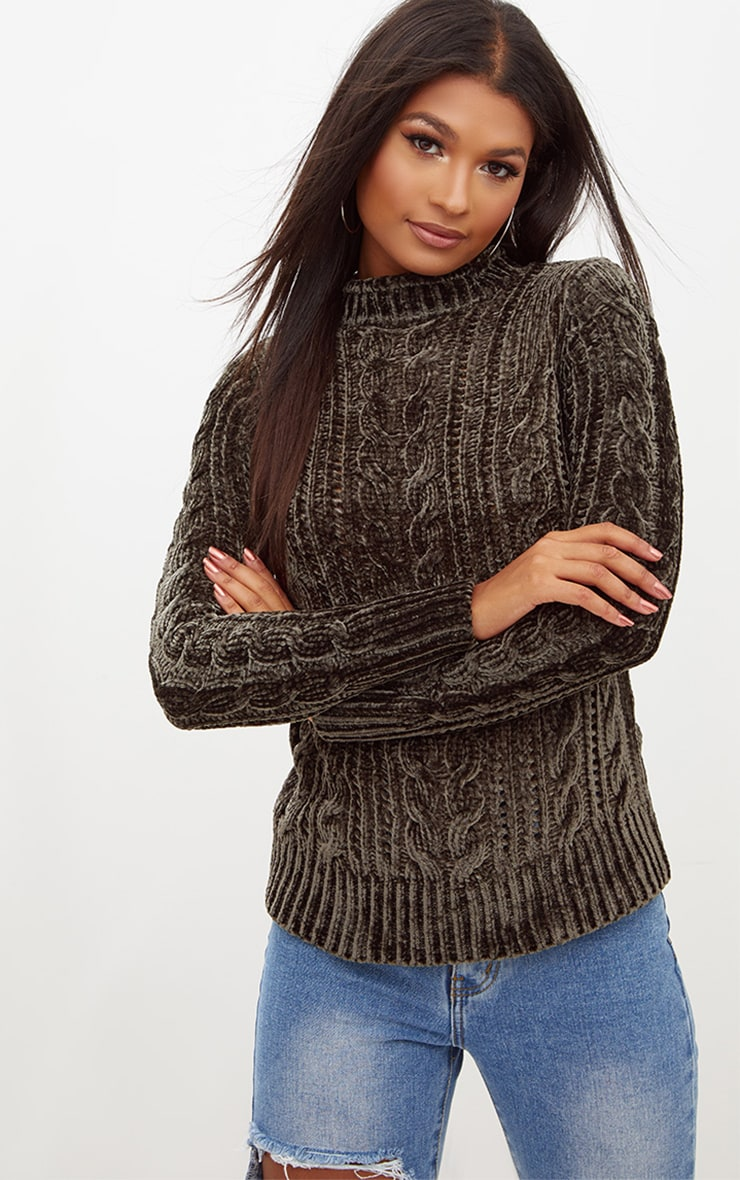 Khaki Chenille Cable Jumper 1