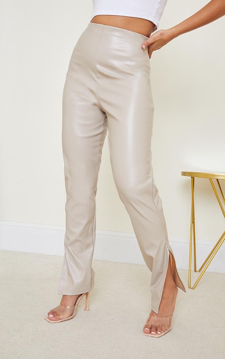 Petite Stone PU Split Hem Trousers 2