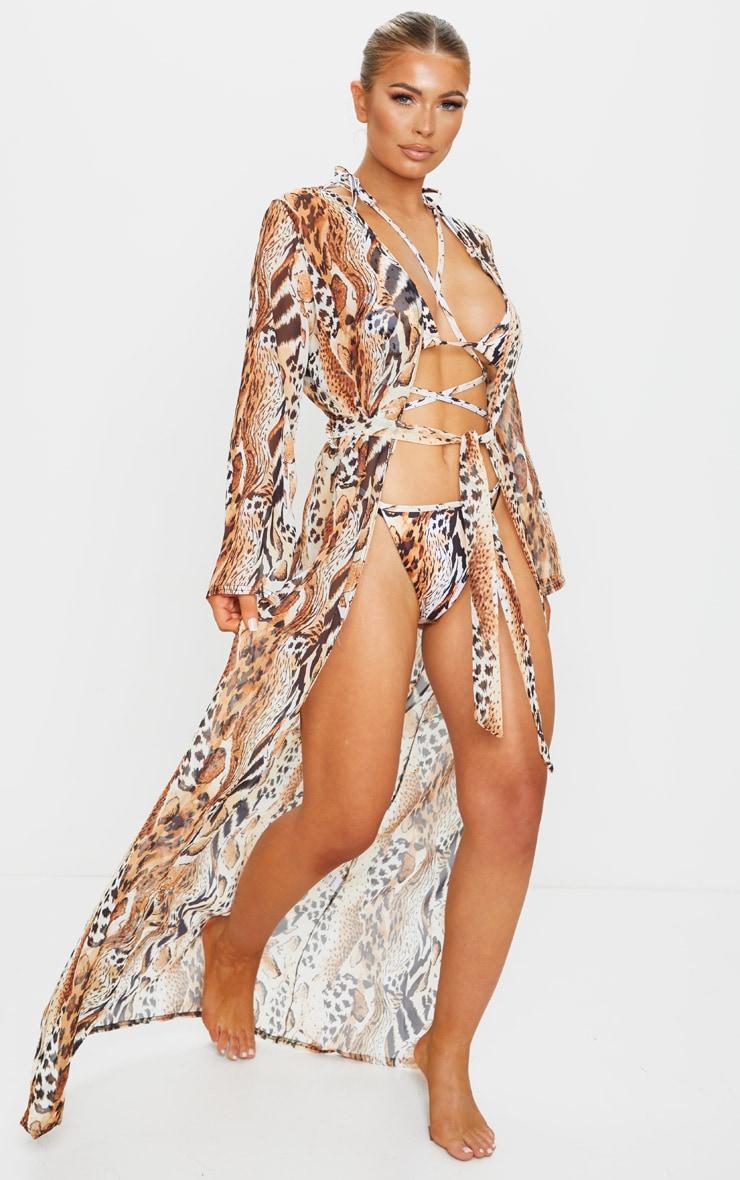 Animal Backless Tie Waist Beach Kimono 3