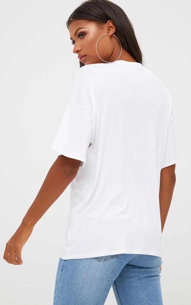 White Basic Oversized Cropped Sleeve T Shirt 2