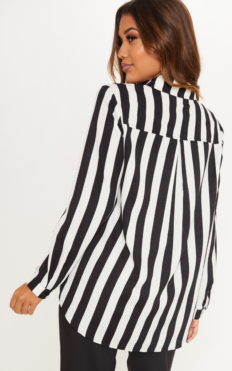 Monochrome Stripe Satin Button Front Shirt 2