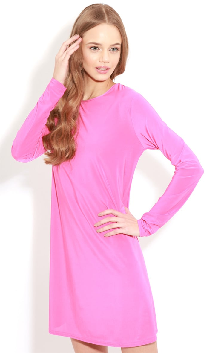 Ellen Fuchsia Long Sleeved Swing Dress  4