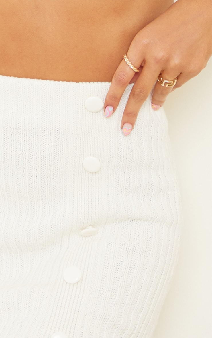 Cream Ribbed Knitted Button Mini Skirt 5