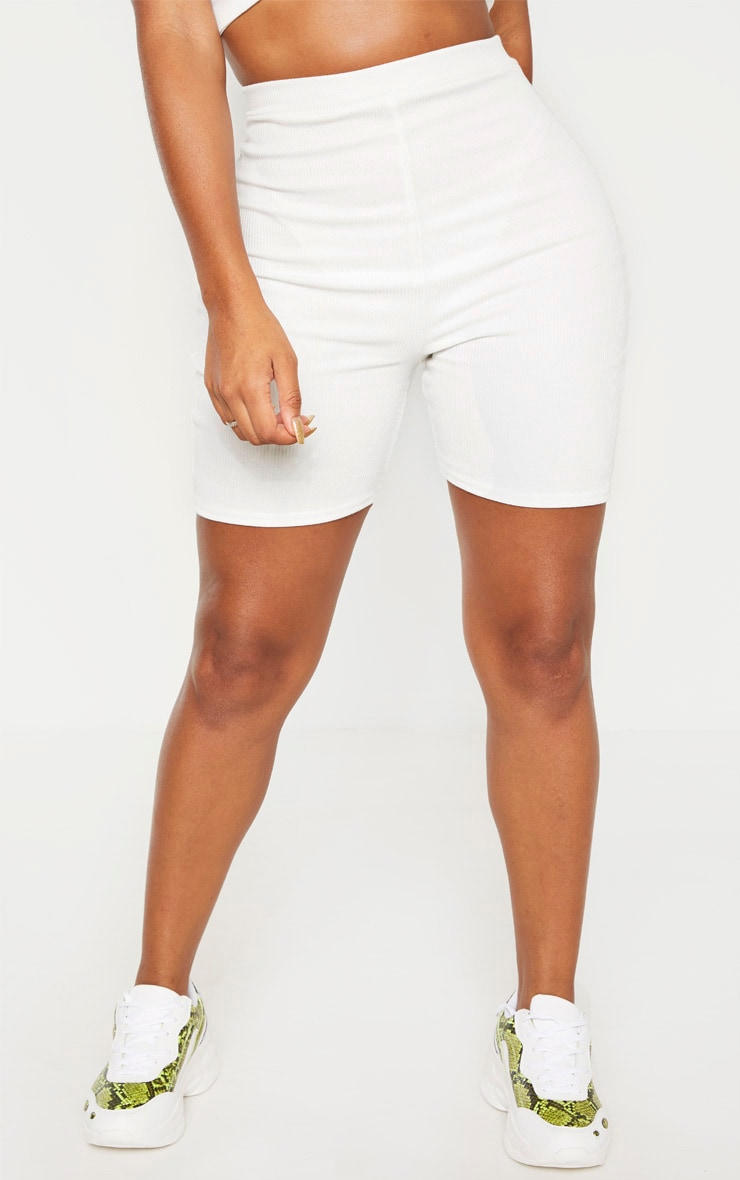 Shape White Ribbed High Waist Cycle Short 2