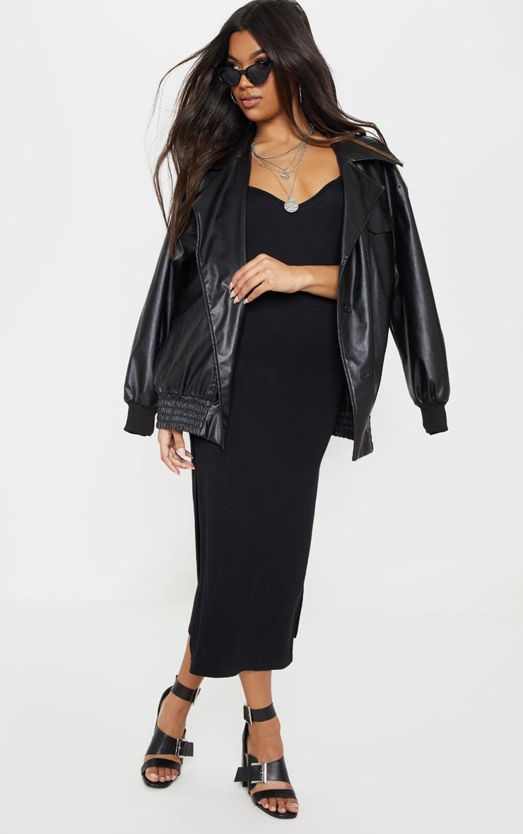 فستان متوسط الطول بفتحة على الساق من الجيرسيه بلون أسود 4
