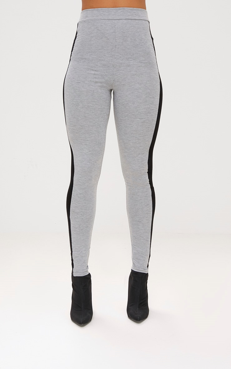 Grey Marl Contrast Stripe Leggings 2