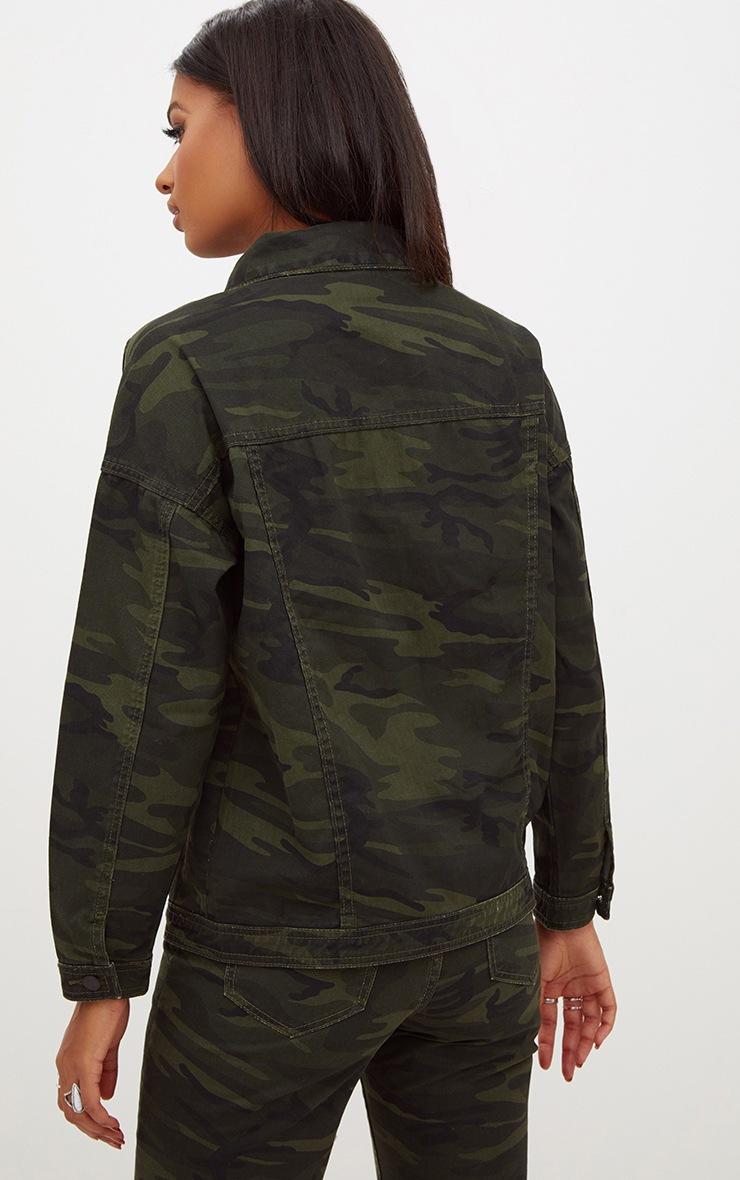 Khaki Oversized Camouflage Denim Jacket 2