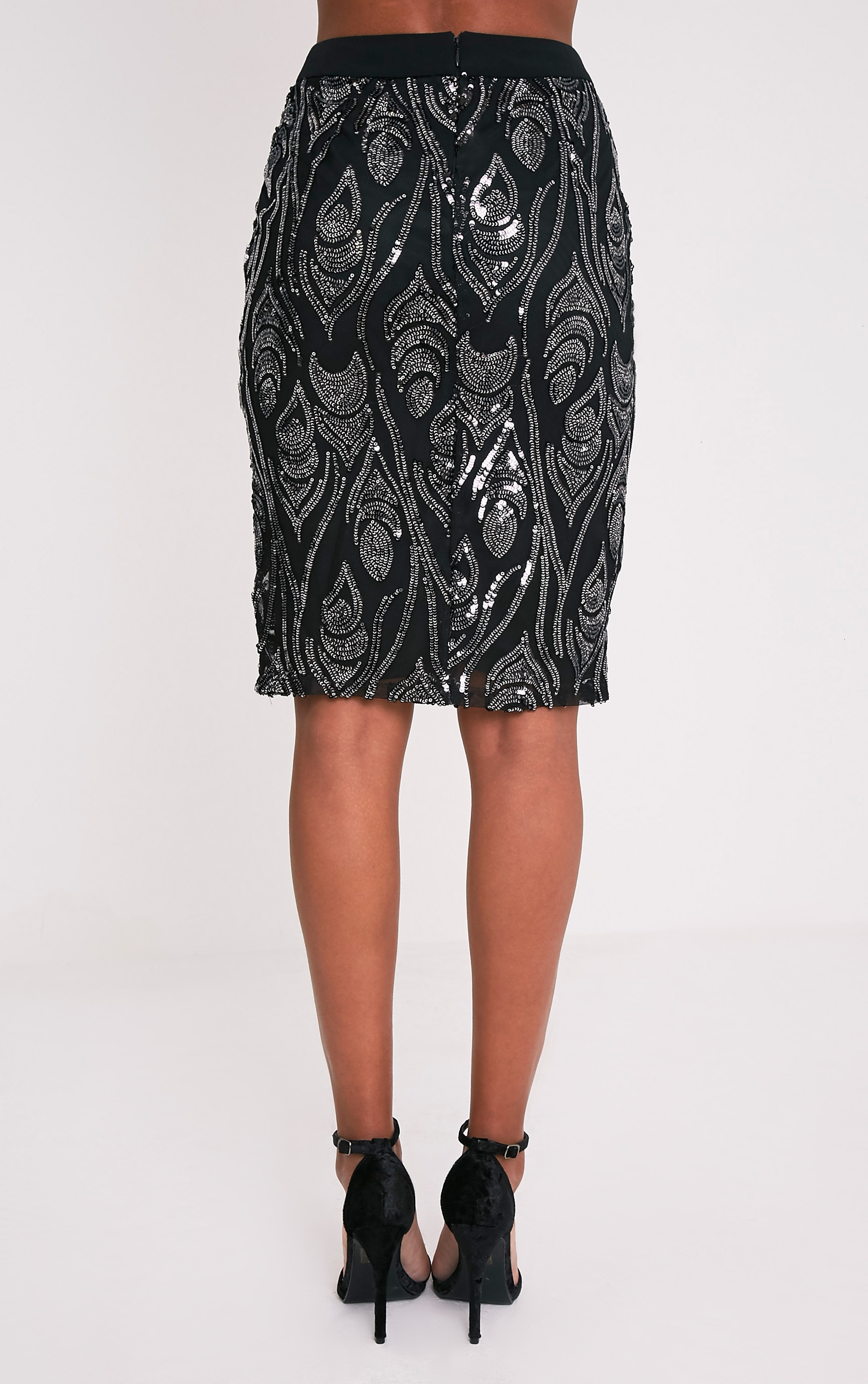 Ramona Black Sequin Split Midi Skirt  5