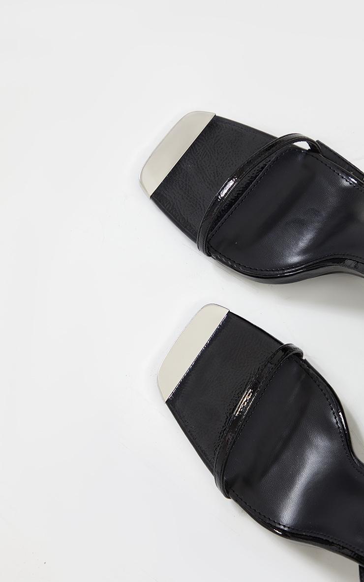 Black Square Toe High Heel Chain Trim Sandals 4