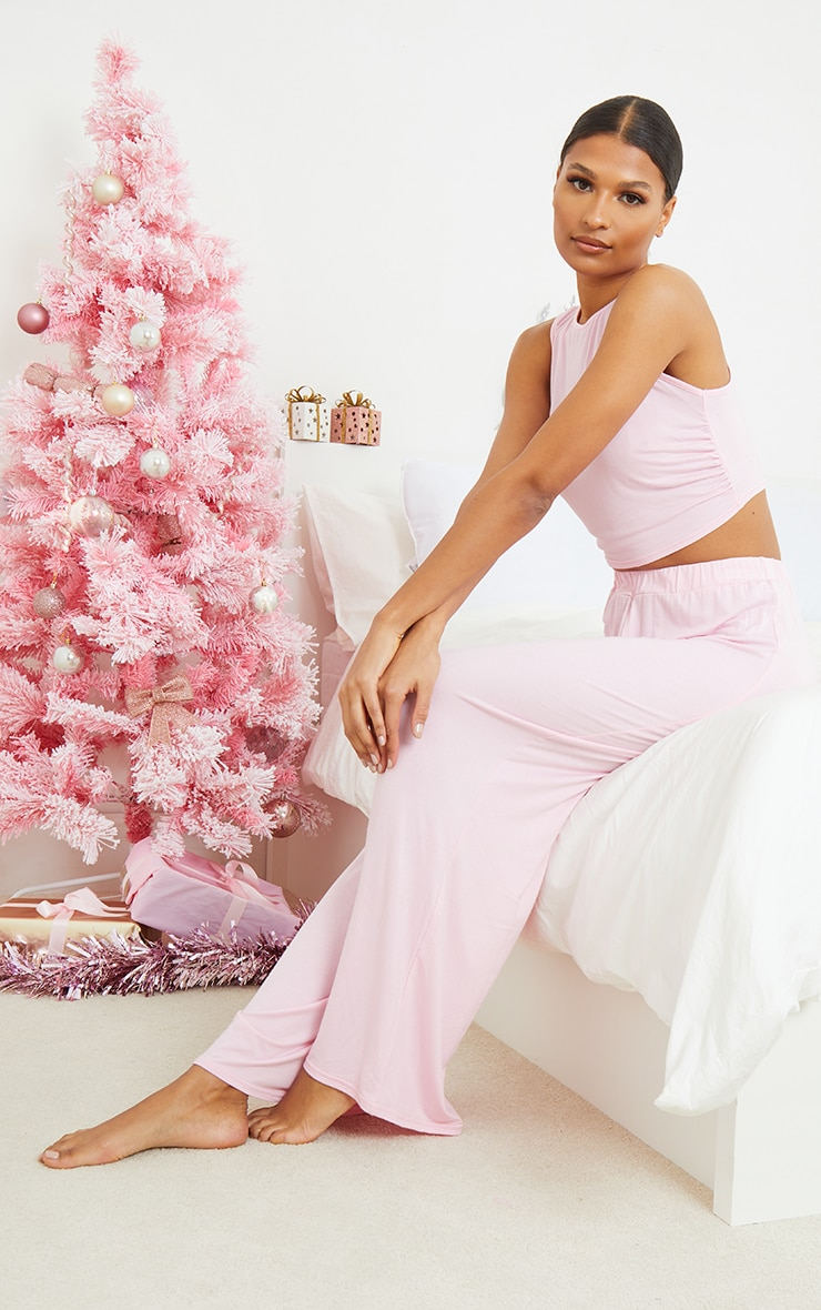 Pink Ruched Crop Top And Wide Leg Trousers Pj Set 3
