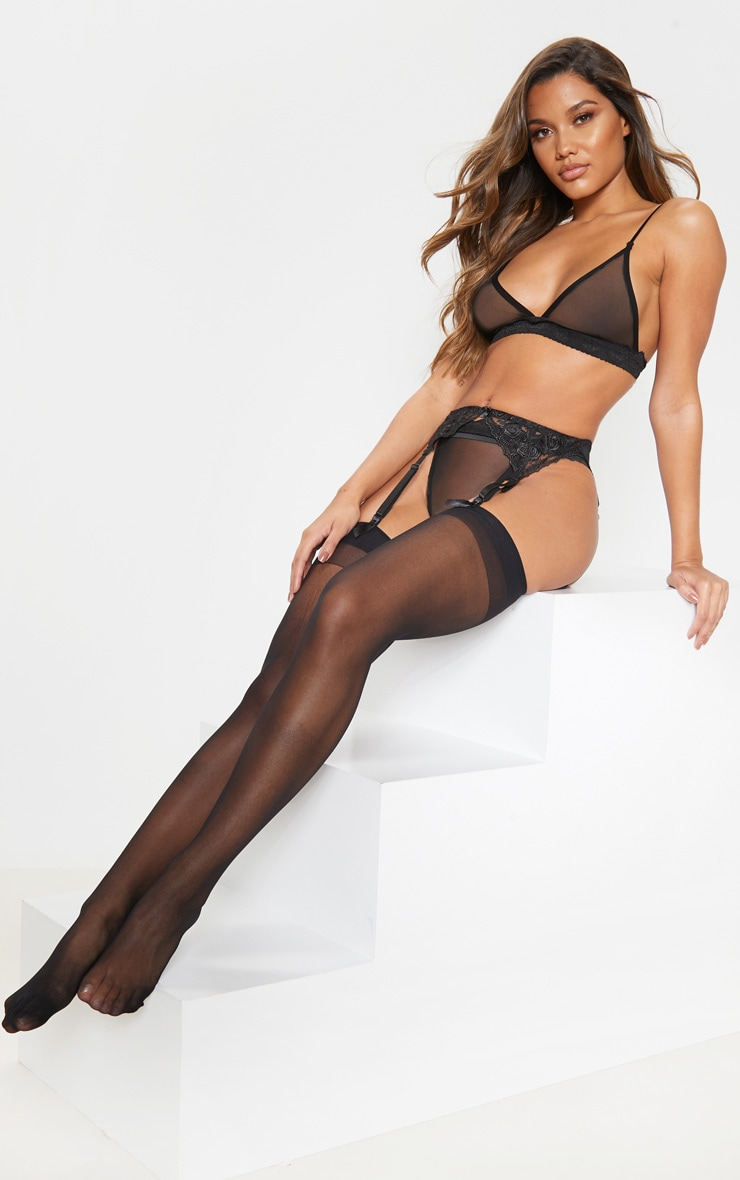 Black Sheer Hold Up Stockings 1