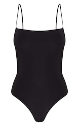 Black Slinky Square Neck Spaghetti Strap Bodysuit 1