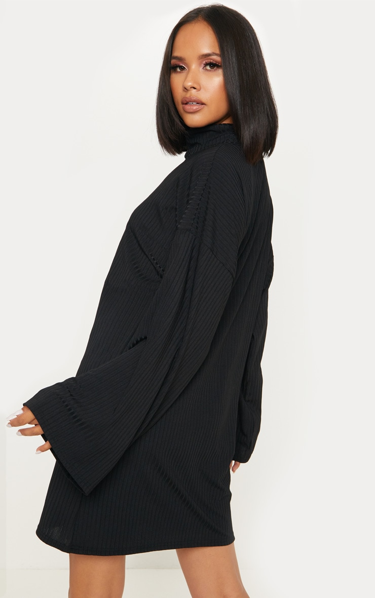 Black Wide Rib High Neck Oversized Jumper Dress 2