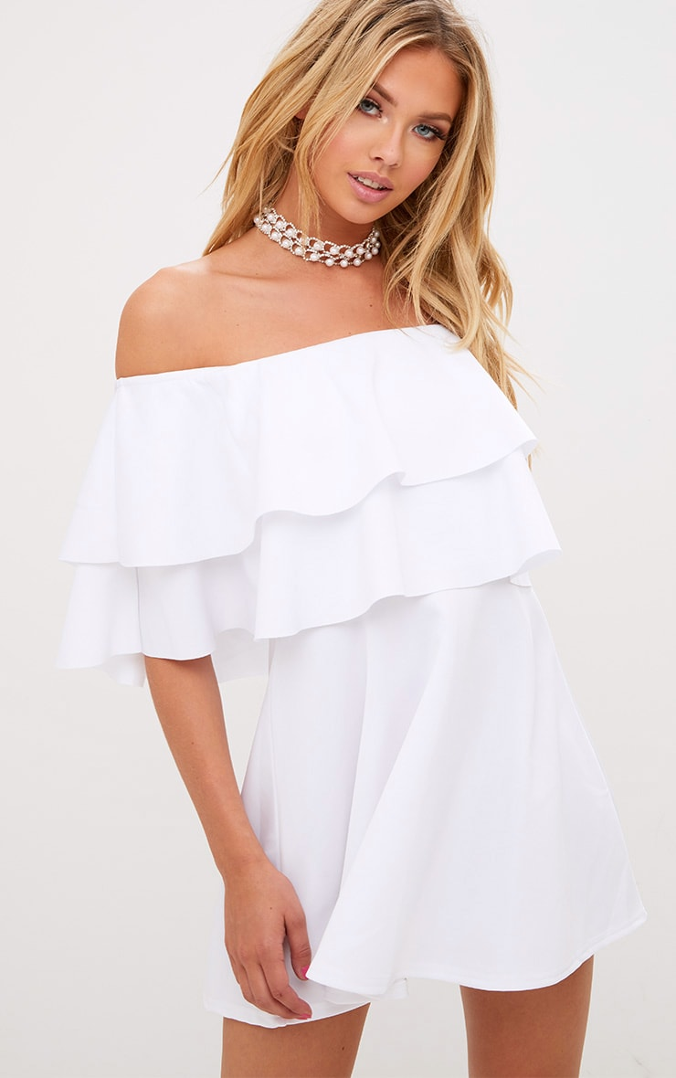 White Frill Bardot Skater Dress 4