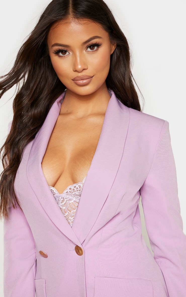 Petite Lilac Button Woven Blazer Dress 5