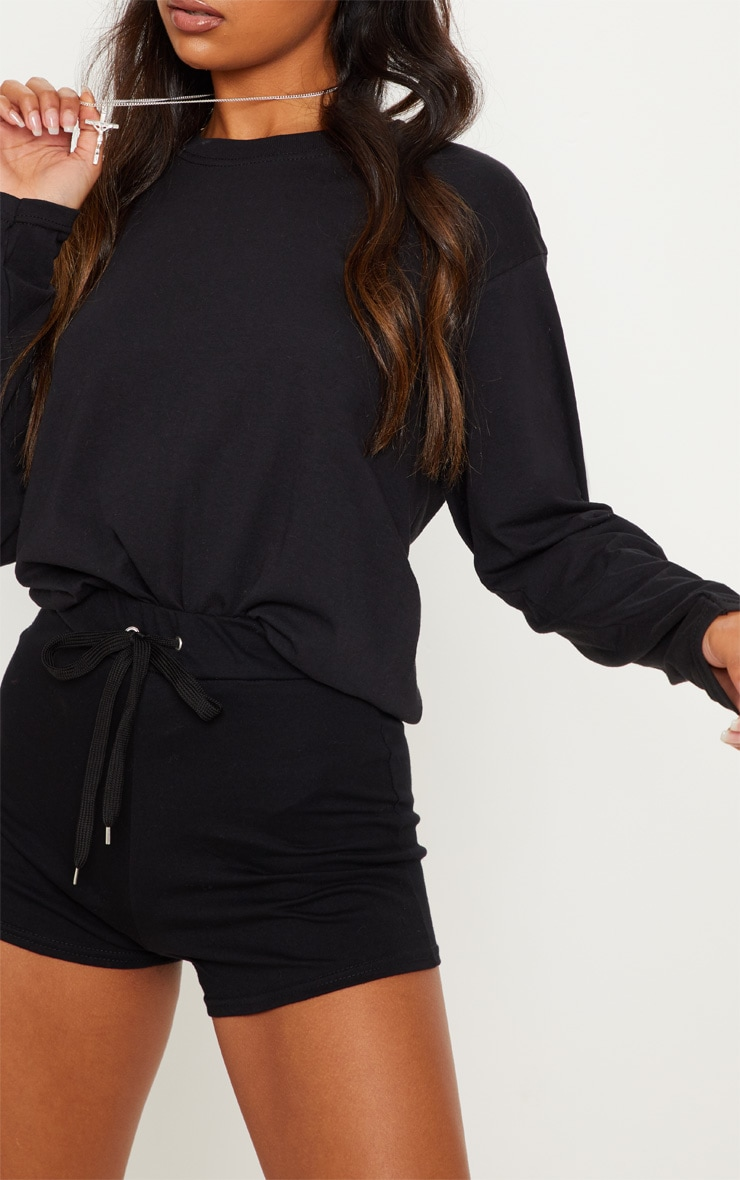 Black Drawstring Cotton Short 5