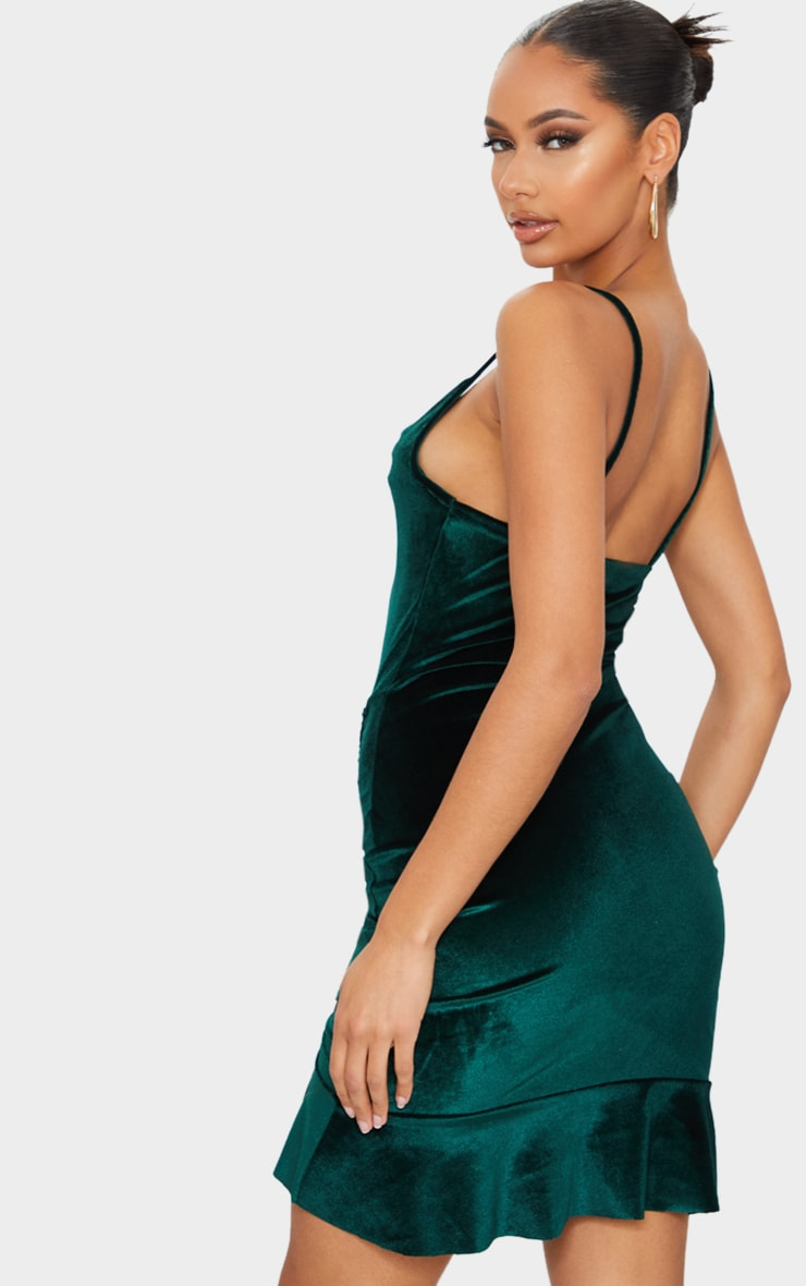 Emerald Green Velvet Strappy Ruched Frill Hem Bodycon Dress 2